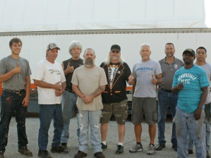 """The YRC warehouse crew with Local 710 Business Agent John """"Shaggy"""" Rule"""