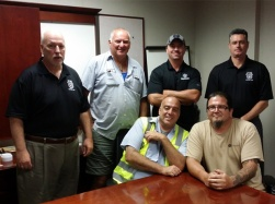Local 710 Bolingbrook Drivers and Business Agents at the latest JLM meeting. From left to right: Business Agent Bernie Sherlock, Pat Keenan, Steward Kevin Smyth, Business Agent Simon McNamara, Mike Donohue, Steward Dan Dougherty