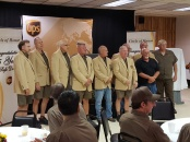 Glenn Peterson (far right) stands with fellow Tri-City Circle of Honor drivers. From left to right: Bill Lower, Bill Snider, Alan Palmer, Mark Otwinowski, Luke Rehlander, Chris Kamechek, Barry Fitzpatrick, Wally Koeppen, Jim Fish