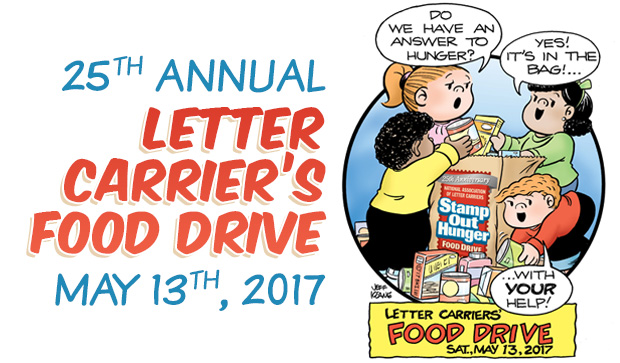 leave non perishables for your letter carrier on saturday may 13 2017