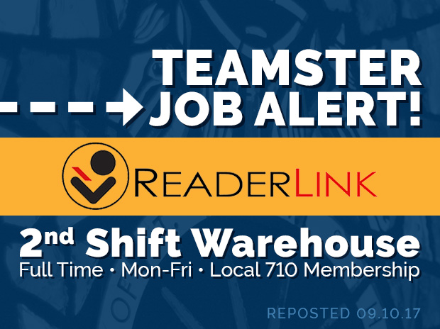 job alert at readerlink now hiring 2nd shift warehouse the online home of teamsters local 710 - 2nd Shift Careers 2nd Shift Employment 2nd Shift Jobs
